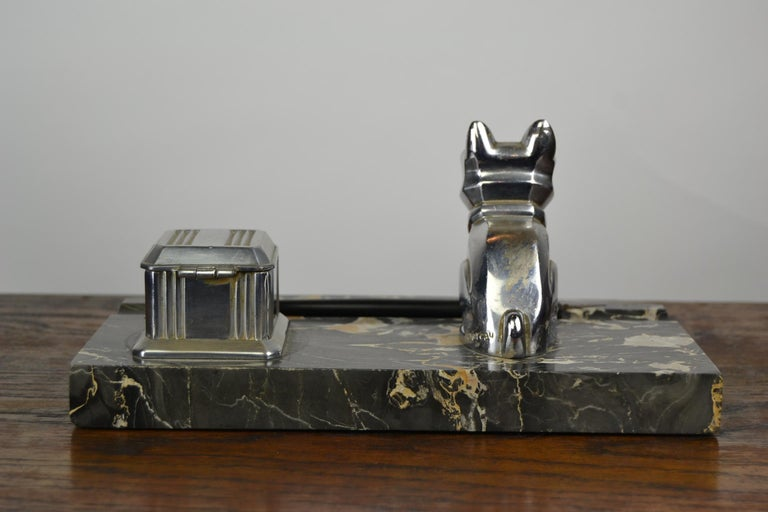 20th Century Art Deco Inkwell with Chromed French Bulldog Figurine H. Moreau, 1920s, France For Sale