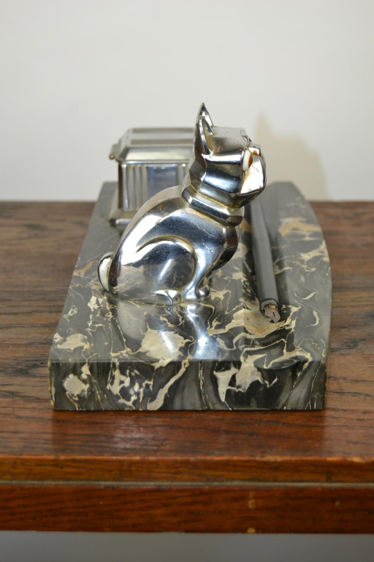 Glass Art Deco Inkwell with Chromed French Bulldog Figurine H. Moreau, 1920s, France For Sale