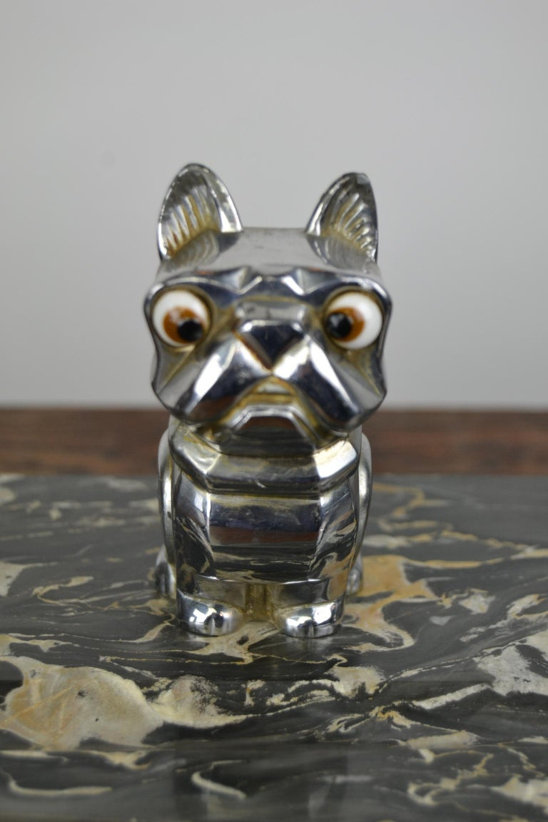 Art Deco Inkwell with Chromed French Bulldog Figurine H. Moreau, 1920s, France For Sale 1