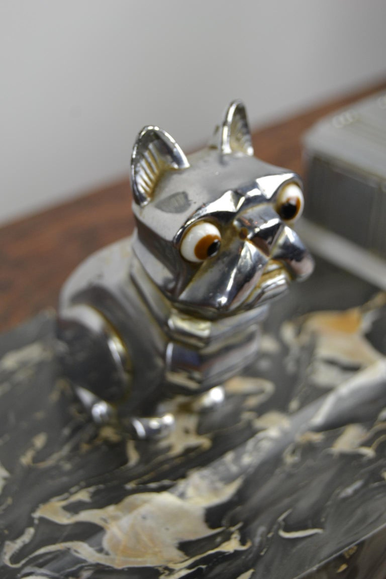 Art Deco Inkwell with Chromed French Bulldog Figurine H. Moreau, 1920s, France For Sale 2