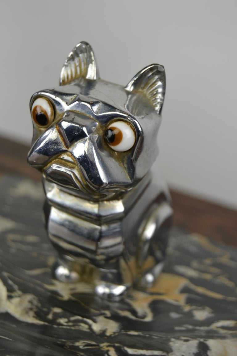 Art Deco Inkwell with Chromed French Bulldog Figurine H. Moreau, 1920s, France For Sale 3