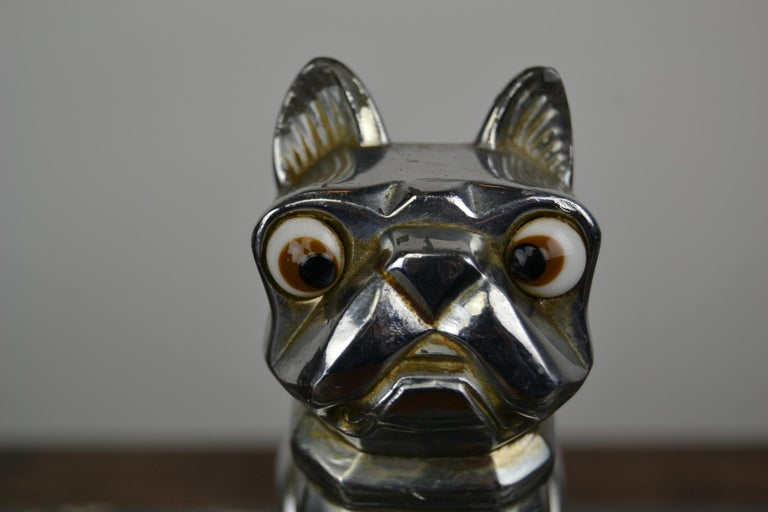 Art Deco Inkwell with Chromed French Bulldog Figurine H. Moreau, 1920s, France For Sale 4
