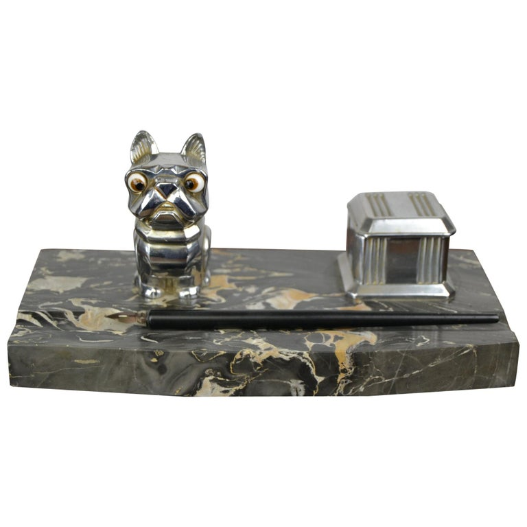 Art Deco Inkwell with Chromed French Bulldog Figurine H. Moreau, 1920s, France For Sale