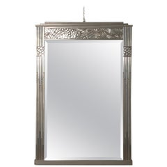 Art Deco Inlaid Silver Wood Frame Mirror with Beveled Original Glass