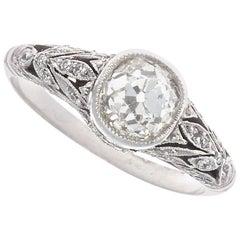 Art Deco Inspired 1 Carat Old European Cut Diamond Platinum Engagement Ring