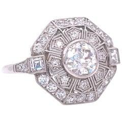 Art Deco Inspired 1.11 Carat Old European Cut Diamond Platinum Engagement Ring