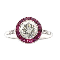 Art Deco Inspired 1.12 Carat Diamond Ruby Platinum Target Ring