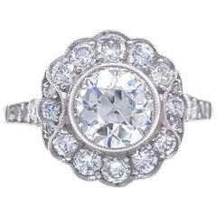 Art Deco Inspired 1.33 Carat Old European Cut Diamond Bridal Platinum Ring