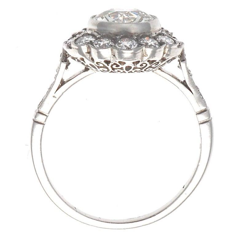 Women's Art Deco Inspired 1.33 Carat Old European Cut Diamond Platinum Engagement Ring For Sale