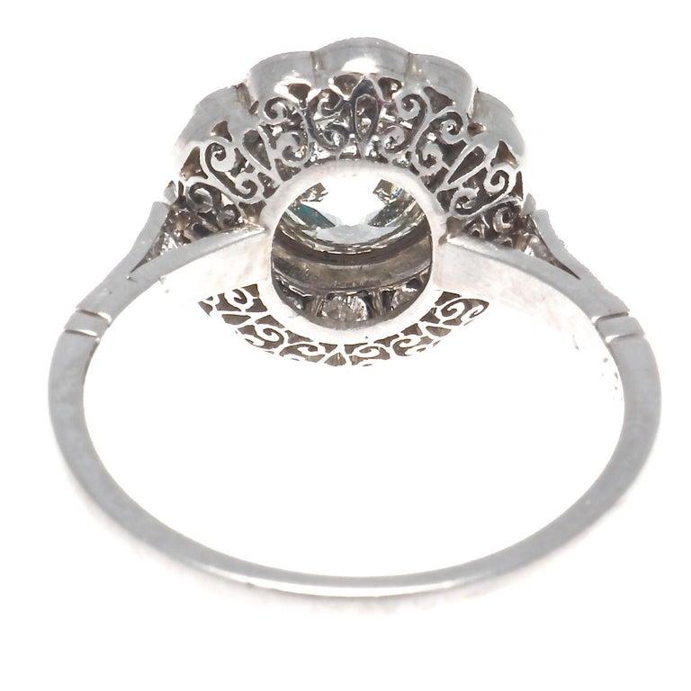 Art Deco Inspired 1.33 Carat Old European Cut Diamond Platinum Engagement Ring For Sale 1