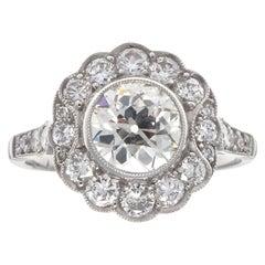 Art Deco Inspired 1.33 Carat Old European Cut Diamond Platinum Engagement Ring
