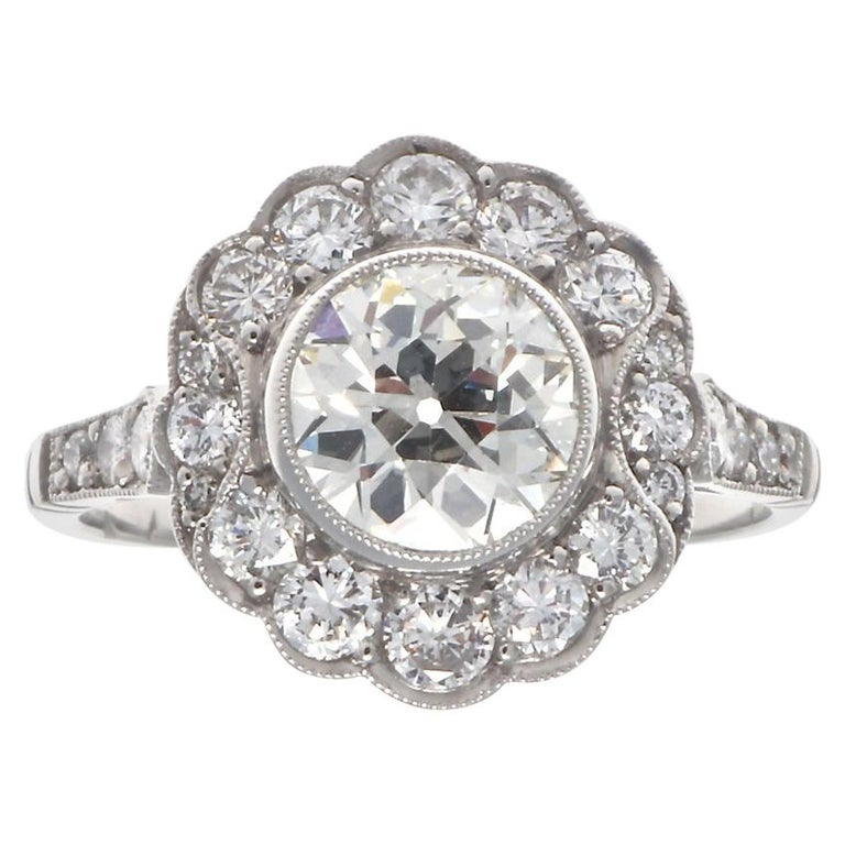 Art Deco Inspired 1.33 Carat Old European Cut Diamond Platinum Engagement Ring For Sale