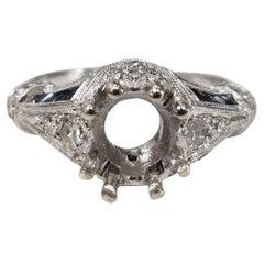 Art Deco Inspired 14 Karat White Gold with Diamonds and Sapphires Semi Mount