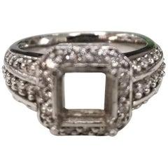Art Deco Inspired 14 Karat with Diamonds Ring Semi Mount