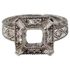 Art Deco Inspired 14 Karat with Diamonds Ring with Hand Engraving