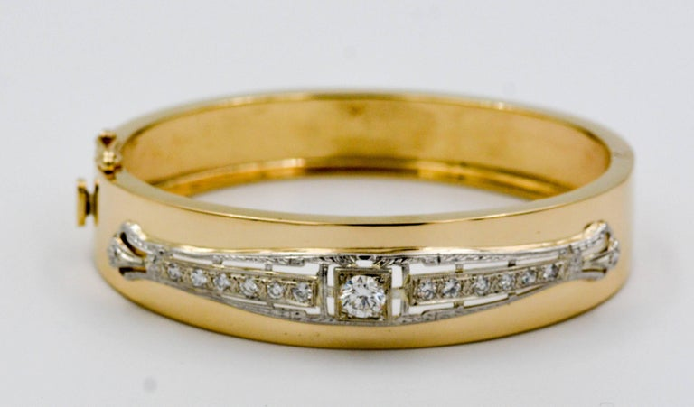 Art Deco Inspired 14 Karat White and Yellow Gold 1.0 Carat Diamond Bangle In Good Condition For Sale In Dallas, TX