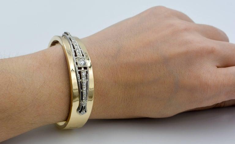 Women's Art Deco Inspired 14 Karat White and Yellow Gold 1.0 Carat Diamond Bangle For Sale