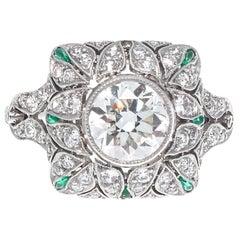 Art Deco Inspired 1.60 Old European Cut Diamond Emerald Platinum Ring