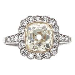 Art Deco Inspired 1.73 Ct. Old Mine Cut Light Yellow Diamond Platinum Ring