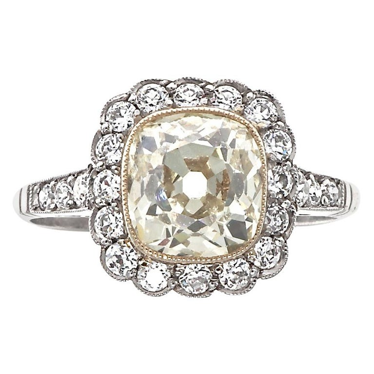 Art Deco Inspired 1.73 Ct. Old Mine Cut Light Yellow Diamond Platinum Ring For Sale