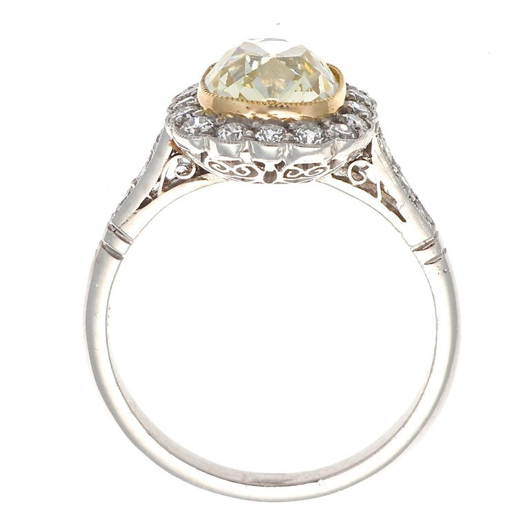 Women's Art Deco Inspired 1.73 Ct. Old Mine Cut Light Yellow Diamond Platinum Ring For Sale