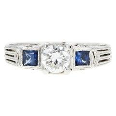 Art Deco Inspired 18 Karat White Gold .50 Carat Diamond and Sapphire Ring