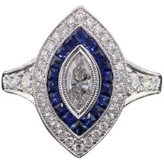 Art Deco Inspired 18 Karat White Gold, Marquise Diamond and Sapphire Ring