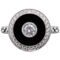 Art Deco Inspired 18 Karat White Gold Onyx and Diamond Ring