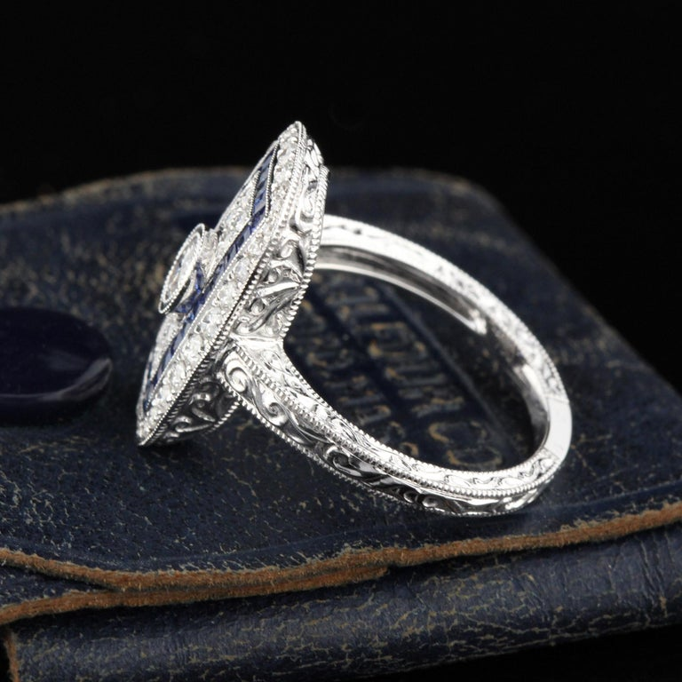 Contemporary Art Deco Inspired 18 Karat White Gold Sapphire and Diamond Ring For Sale
