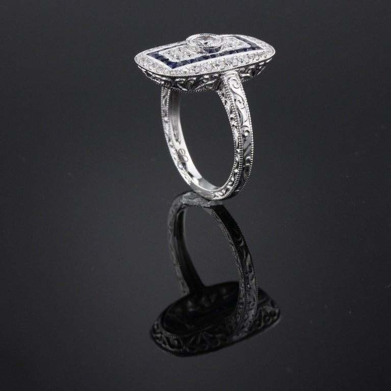 Art Deco Inspired 18 Karat White Gold Sapphire and Diamond Ring In Good Condition For Sale In Great Neck, NY