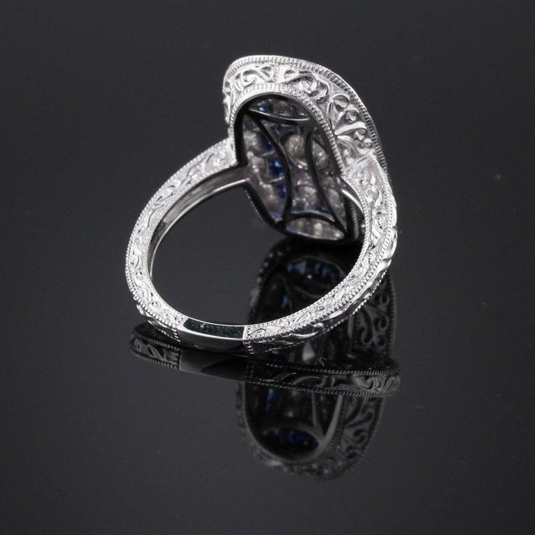 Women's or Men's Art Deco Inspired 18 Karat White Gold Sapphire and Diamond Ring For Sale