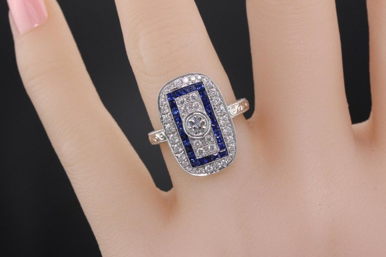 Art Deco Inspired 18 Karat White Gold Sapphire and Diamond Ring For Sale 1