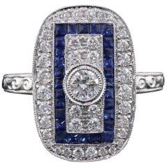 Art Deco Inspired 18 Karat White Gold Sapphire and Diamond Ring