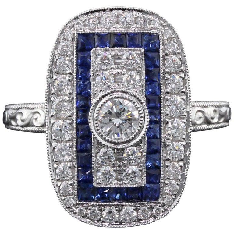 Art Deco Inspired 18 Karat White Gold Sapphire and Diamond Ring For Sale