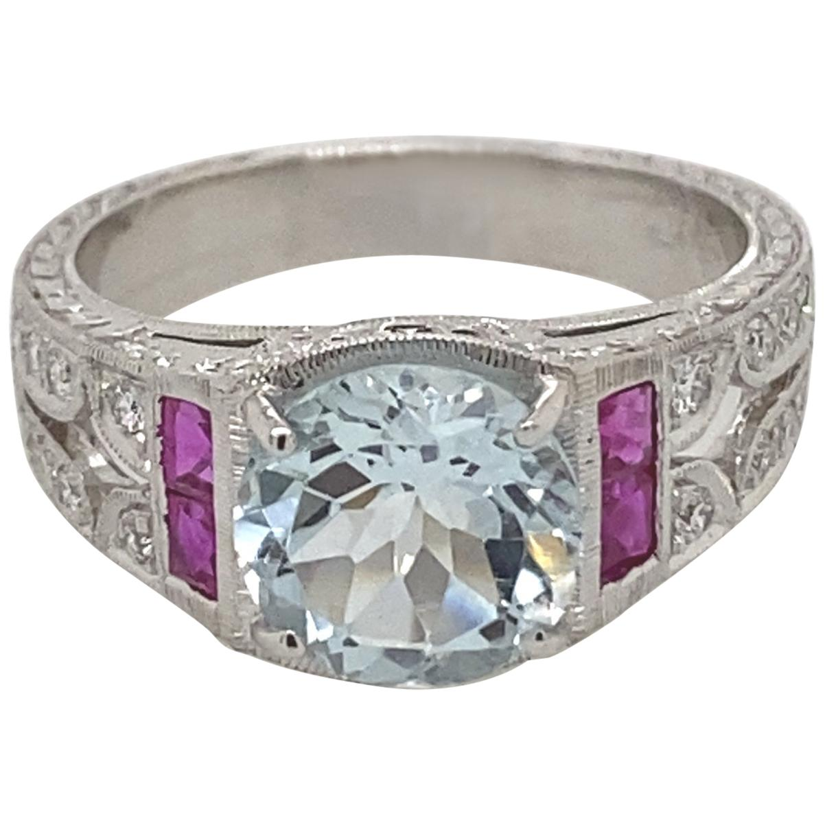 Art Deco Inspired 2 Carat Aquamarine, Ruby, and Diamond Ring 18 Karat White Gold