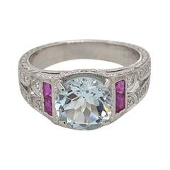 Art Deco Inspired 2 Carat Aquamarine, Ruby, and Diamond Ring 18 Karat White Gold