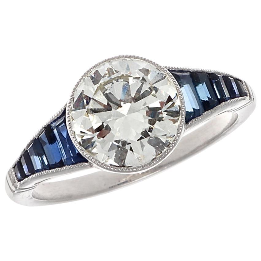 Art Deco Inspired 2 Carat Old European Cut Diamond Sapphire Engagement Ring