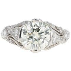 Art Deco Inspired 2.12 Carat Round Brilliant Cut Diamond Engagement Ring