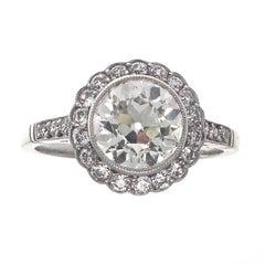 Art Deco Inspired 2.18 Carat Old European Cut Diamond Platinum Engagement Ring