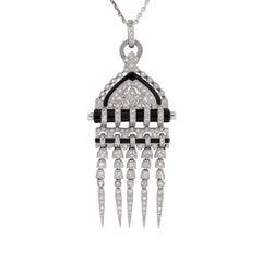 Art Deco Style 2.50 Carat Diamond and Onyx Pendant