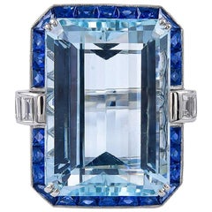 Art Deco Inspired 27.08 Carat Aquamarine Sapphires and Diamond Ring