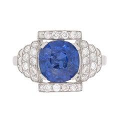 Art Deco Style 2.76 Carat Burmese Sapphire and Diamond Ring, c.1950s