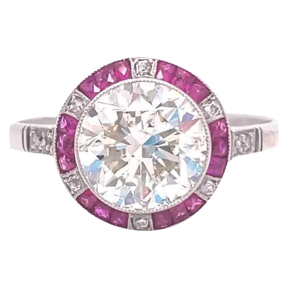 Art Deco Inspired 2.81 Carat Transitional Cut Diamond Ruby Platinum Ring
