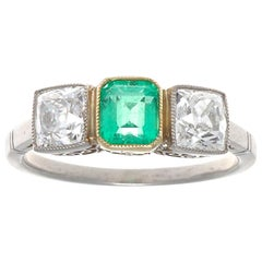 Art Deco Inspired 3-Stone Emerald Old European Cut Diamond Platinum 18k Ring