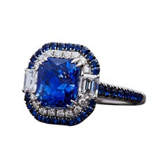 Art Deco Inspired 4.11ct Certified Unheated Blue Cushion Sapphire Ring