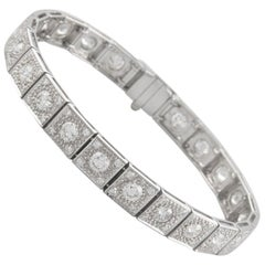 Art Deco Inspired 6.32 Carat Diamond Tennis Bracelet 18 Karat White Gold