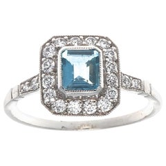 Art Deco Inspired Aquamarine Diamond Platinum Halo Ring
