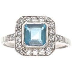 Art Deco Inspired Aquamarine Old European Cut Diamond Platinum Ring