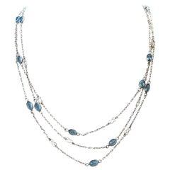 Art Deco Inspired Aquamarine Platinum Necklace