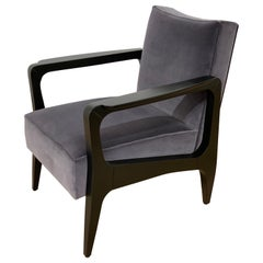 Art Deco Inspired Atena Armchair in Beech Black Ebony and Grey Italian Velvet